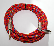 "Red Braided 6.35mm (1/4"") Straight to Right Angle Guitar Lead 5m"
