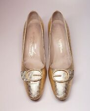 Vintage Roger Vivier Paris Saks Fifth Ave Gold Pumps Rhinestone Buckle Size 9AA