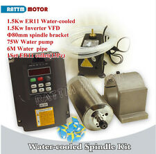 1.5KW Water Cooled Spindle Motor ER11&1.5KW VFD Inverter 220V&Clamp&Pump CNC Kit