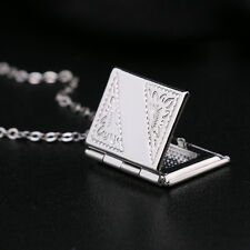 Magic Silver Photo Frame Locket Book Pendant Chain Necklace Gifts