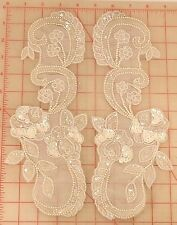 Pair of beautiful vintage beaded appliques ivory white AB flower designs 11.5""