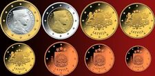 SET OF 8 LATVIA 2014 EURO COINS MINT UNCIRCULATED FROM BANK ROLLS Complete Set