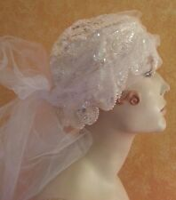Gatsby 20's Flapper Style Iridescent White Sequin Headpiece Hat Veil Bridal