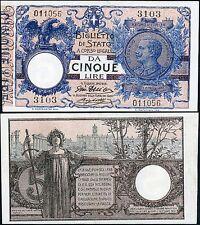 Biglietto di Stato da 5 Lire 17/6/1915 Giu. Dell'Ara - Righetti SPL-FDS