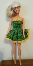 Green & Gold Vintage Barbie Crochet Mini Strapless Dress
