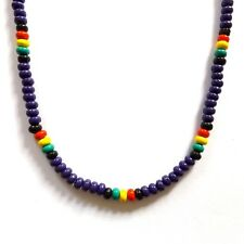 PURPLE LILAC RASTA REGGAE JAMAICAN SURFER BEACH STYLE BEADED NECKLACE WITH CLASP