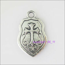 4Pcs Tibetan Silver Cross Shield Charms Pendants 14.5x23.5mm