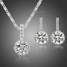 Women Sterling White Gold Plated Zircon Crystal Zircon Earrings Wedding Jewelry