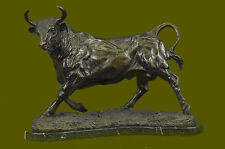 "14"" China FengShui Purple Bronze Zodiac Strong Ox Bull Bullish Statue Sculpture"
