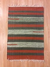 Striped Green Rust Color Handloomed Cotton Rag RUG Durrie Mat 60x90cm 2x3 50%OF