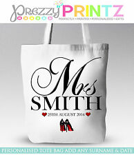 PERSONALISED SHOPPING BAG TOTE GIFT CHRISTMAS MRS BRIDE HEN NIGHT DO ANNIVERSARY