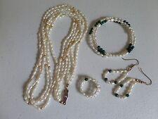 Set - Fresh Water Pearls 3 Strand Necklace Coil Bracelet & Ring Pierced Earrings