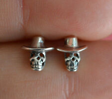 925 Sterling Silver Tiny Gothic Skull Skeleton w/ Cowboy Hat Stud Earrings *NEW*