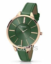 Sekonda Ladies Editions Watch Stone Set Emerald Green Dial Leather Strap 2249