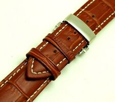 19mm Brown Leather Contrast Stitch Alligator Grain Watch Band Deployment Clasp