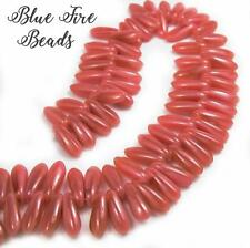 BFB-Premium Czech Glass Hurricane Glass Daggers 3/10mm *CORAL ROSE* 50 Beads