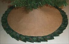 "Christmas Tabletop Tree Skirt ~24"" ~Burlap / Green Pine Cones Ruffle~Custom Made"