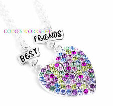BEST FRIENDS BFF CRYSTAL HEART PENDANT 2 IN 1 SET NECKLACE GIRLS FRIENDSHIP GIFT