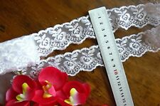 Organza Embroidered Lace Edge WHITE 40mm wide 4.5 Metre Length Sunrise ft23 FLT1