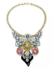 Costume Fashion Statement Necklace Gold Big Pendant Multicolored Blue Red LL1