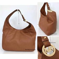 MICHAEL KORS FULTON LARGE SLOUCHY SHOULDER HOBO BAG  IN LUGGAGE TAN NWT