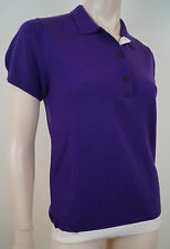 AQUASCUTUM GOLF Purple 100% Wool Knit Collared Polo Short Sleeve Jumper Top BNWT