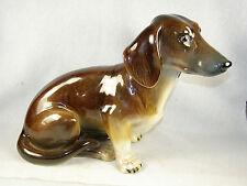 Vintage WIEN KERAMOS Austria Porcelain Large Sitting Dachshund Figurine