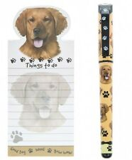 Golden Labrador Retriever Magnetic Fridge Notepad  & Gel Pen Gift Set Dog Lovers