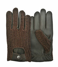 Crochet Back Leather Dressing Men Classic Driving Lambskin  Dress Gloves Unlined