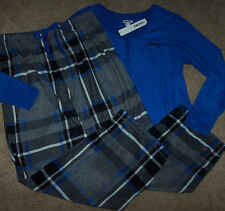 NWT DKNY Royal Blue Top/Gray-Black Plaid Pants FLEECE Pajama Set Size XL $58