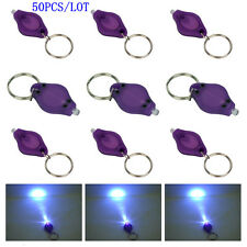 50PCS Purple UV LED Flashlight Mini Keychain ID Currency Passports Detector Gift