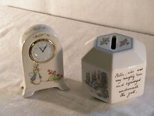 "Wedgwood Bone China ""Peter Rabbit"" Clock and matching Money Box, Superb !!!."