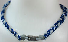 "NEW! 20"" Custom Clasp Braided Sports Navy Blue Gray Grey Dark Tornado Necklace"