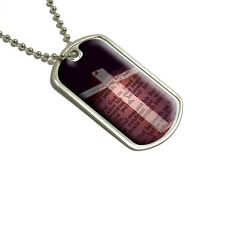 Cross and Bible Verse John 3-16 For God So Loved the World - Military Dog Tag