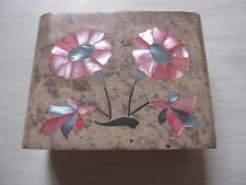 Vintage Indian Trinket Jewellery Box/Soap Box - Mother of Pearl with 2 flowers