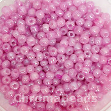 50g glass seed beads - Mauve Ceylon - approx 4mm (size 6/0) jewellery making