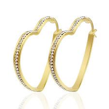 Beautiful Stainless Steel Shine Drill Crystal Love Heart Hoop Earrings For Women