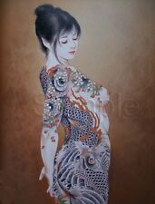 VINTAGE TATTOO SEXY ASIAN GEISHA GIRL SIDE KOI LOTUS FLOWERS *CANVAS* ART PRINT