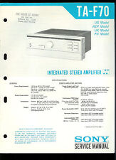 Rare Original Factory Sony TA F70 Stereo Amplifier Amp Service/Repair Manual