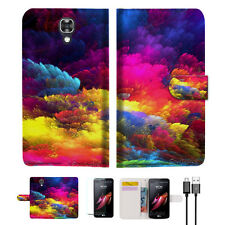 Colorful Cloud Wallet TPU Case Cover For Telstra Signature Enhanced--A021