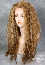 HEAT OK Lace Front wig Two tone Blondes Tangerine mix Curly Wavy NBH 2216