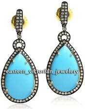 Estate Victorian 42.15Cts Rose cut Diamond Turquoise .925 Silver Earring Jewelry