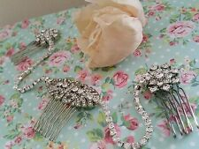 Bridal Triple Hair Comb Drape Diamante Rhinestone Vintage Gatsby hair piece SALE