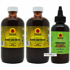 Tropic Isle Living Jamaican Black Castor Oil 8 Oz Pack of 2 + Strong Root 4 Oz