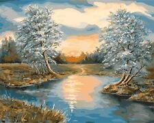 Wooden Framed Paint by Number Kits, Sunset on the Bank of the River, 34cmX44cm