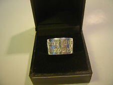SOLID SILVER-THICK CHUNKY BAND RING-MAKE UR DREAMS COME THROUGH-SIZE P-V HEAVY