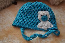 Handmade Crochet Babystyle Hat Booties Teddy bear 0-3Months 100%Cotton Blue