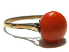 SIZE 9.5 ANTIQUE OLD 10mm GENUINE CORAL 10K YELLOW GOLD WOMENS ESTATE RING