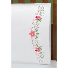 Pink Posies - STAMPED for embroidery - PILLOWCASE PAIR Standard