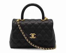 Authentic CHANEL Mini Coco Handle BLACK CAVIAR GOLD Boy WOC Flapbag BNIB NWOT